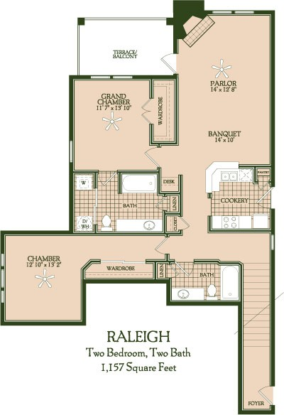 1,157 sq. ft. Raleigh floor plan
