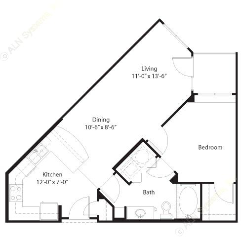 679 sq. ft. Baylor floor plan