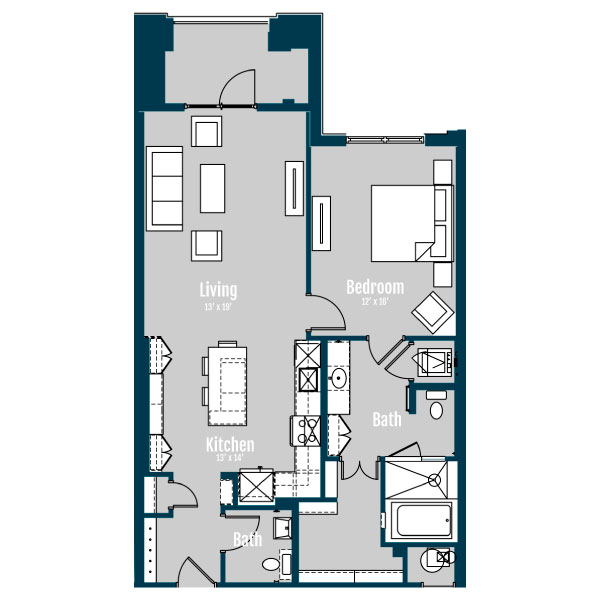 1,039 sq. ft. A9 floor plan