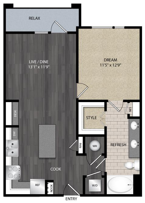 766 sq. ft. A2.2 floor plan