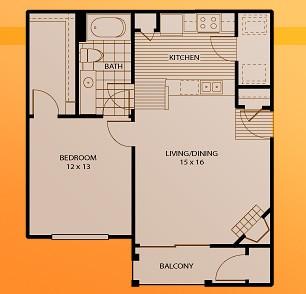 719 sq. ft. A3 floor plan