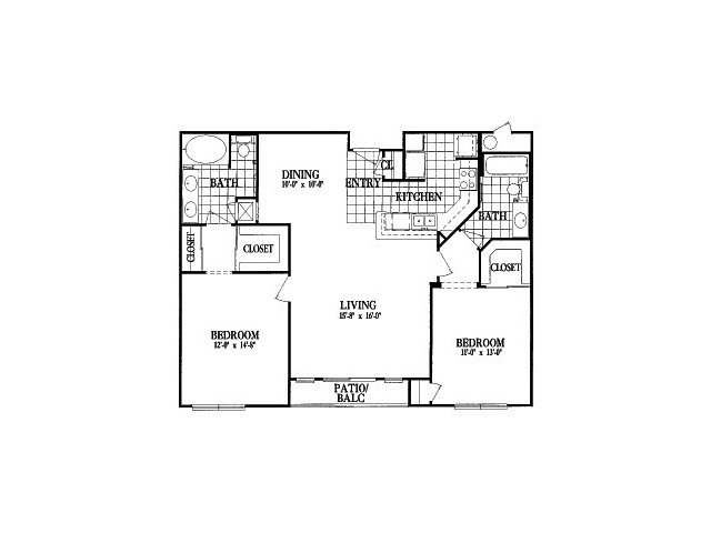 1,214 sq. ft. B5 floor plan
