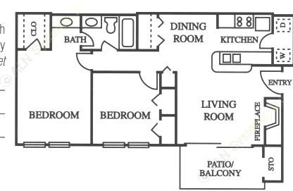 816 sq. ft. B1 floor plan