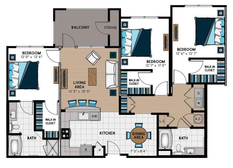 1,515 sq. ft. 3A floor plan