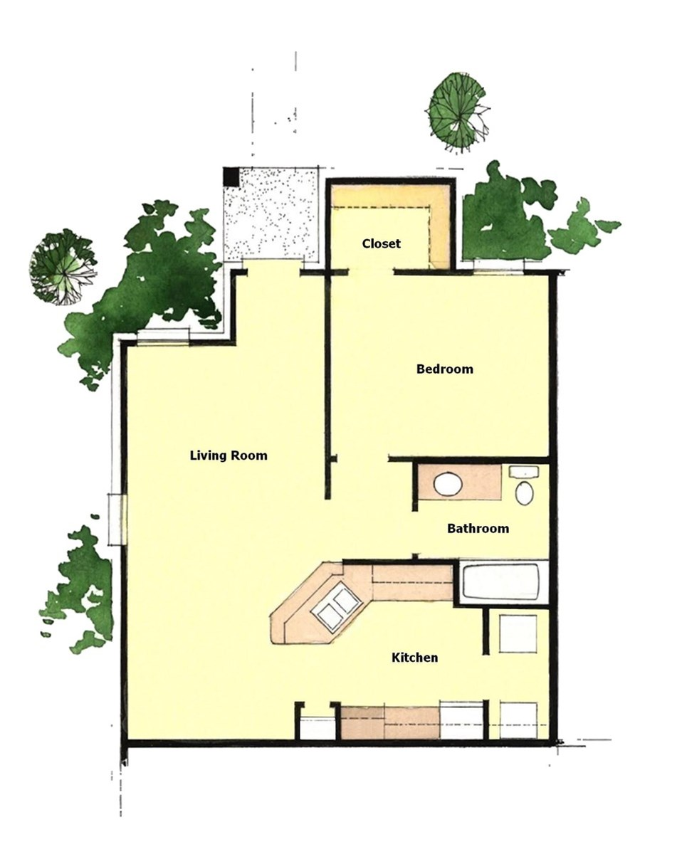 663 sq. ft. 60% floor plan