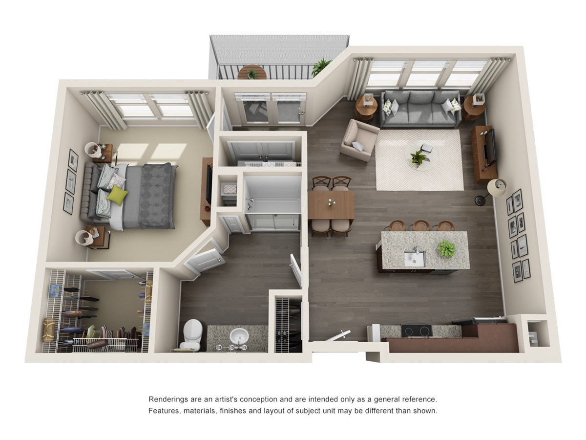 808 sq. ft. A6 floor plan