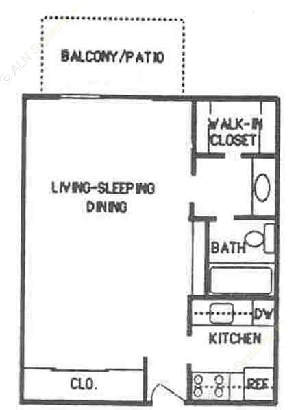 487 sq. ft. E1 floor plan