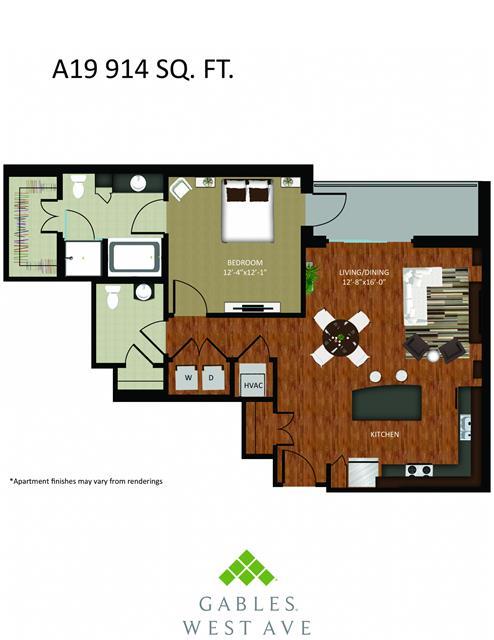 914 sq. ft. DA19 floor plan