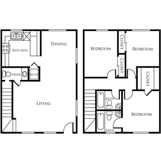 1,088 sq. ft. EBAN II floor plan