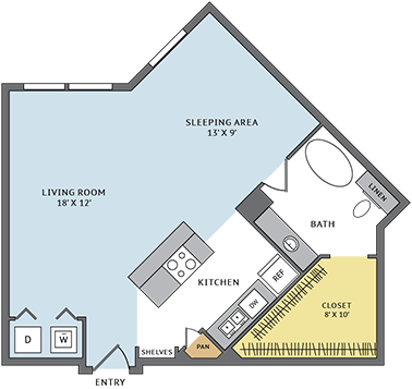 667 sq. ft. 01B floor plan