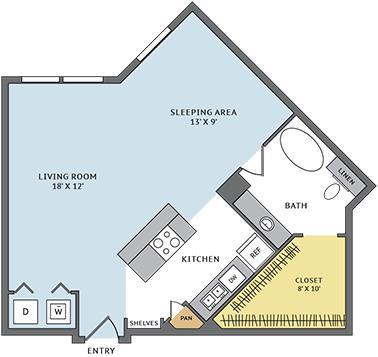 667 sq. ft. 01B floor plan