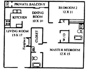 1,054 sq. ft. floor plan
