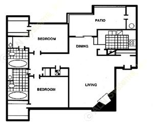 1,005 sq. ft. E floor plan