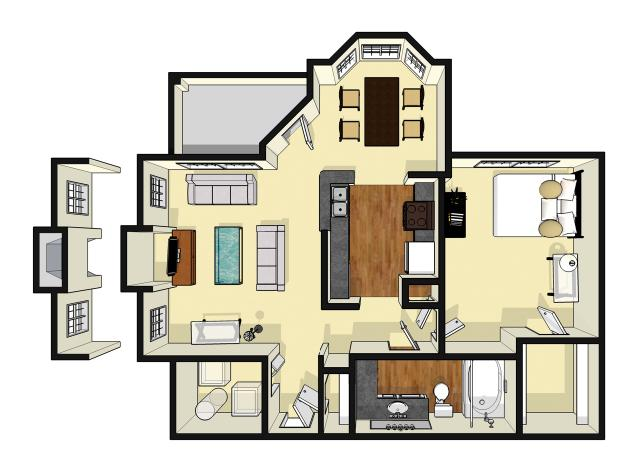 822 sq. ft. Creekbend floor plan