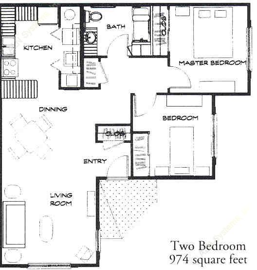 974 sq. ft. 60% floor plan