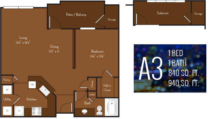 840 sq. ft. to 940 sq. ft. A3 floor plan