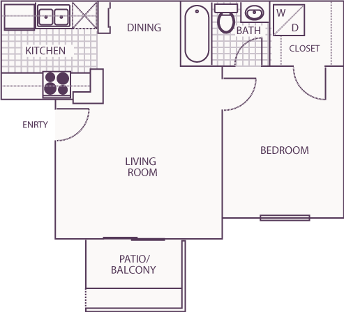 519 sq. ft. A floor plan