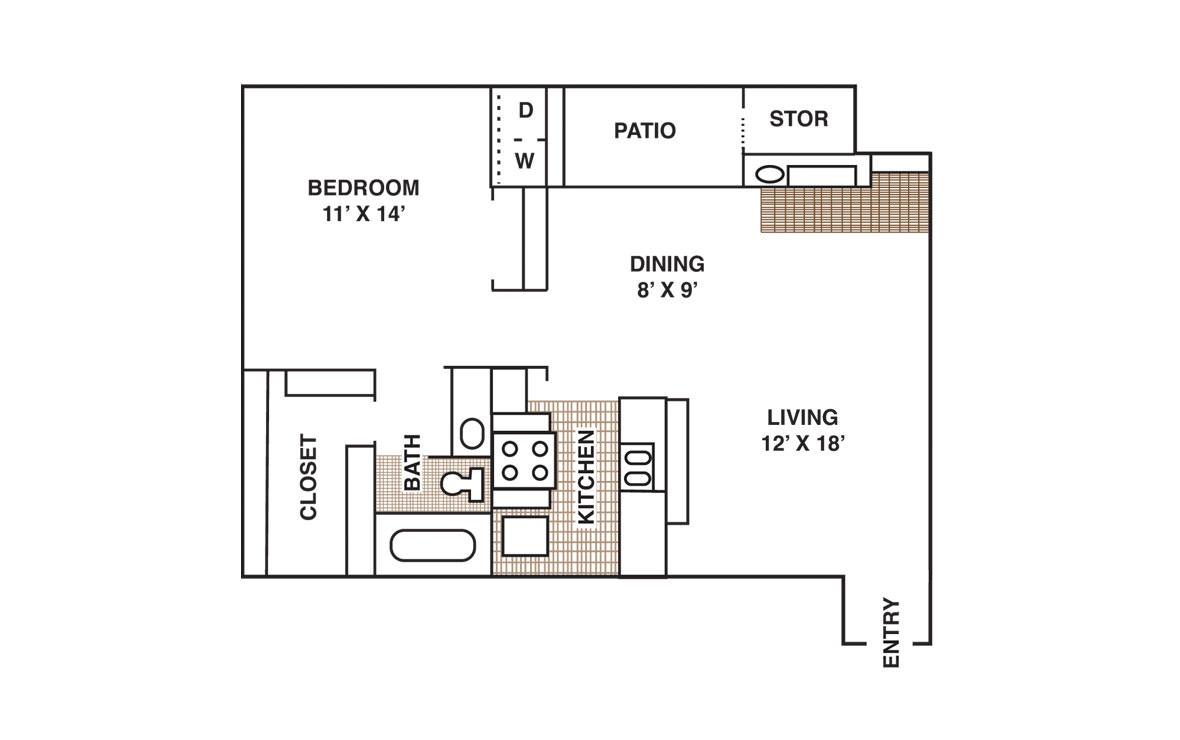 744 sq. ft. A3 floor plan