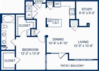 1,009 sq. ft. A5 floor plan