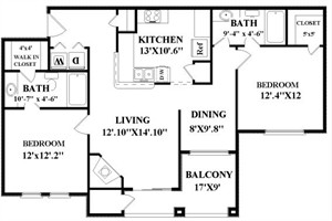 1,058 sq. ft. McConaughey floor plan