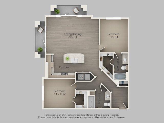 1,203 sq. ft. Laurel floor plan