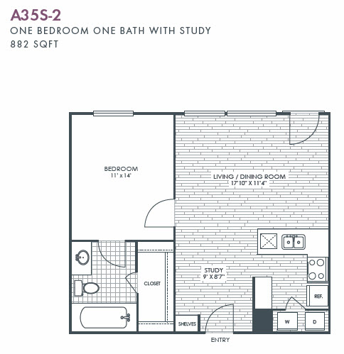 882 sq. ft. A35S-2 floor plan