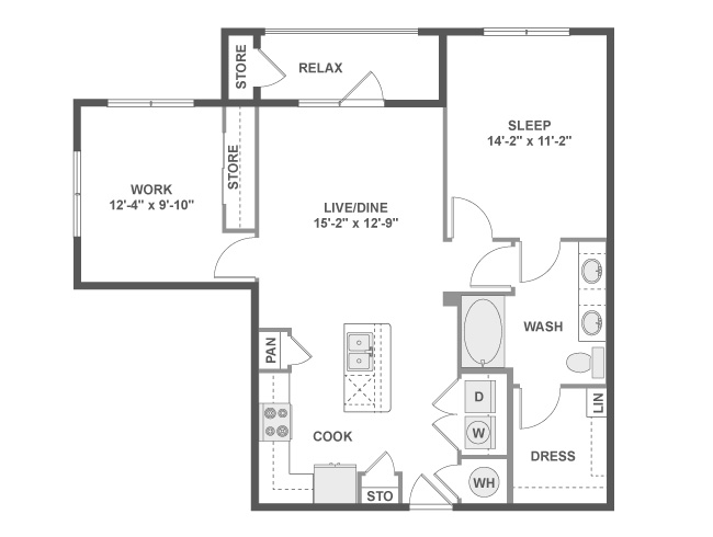 949 sq. ft. B4 floor plan