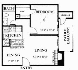 575 sq. ft. A2 50% floor plan