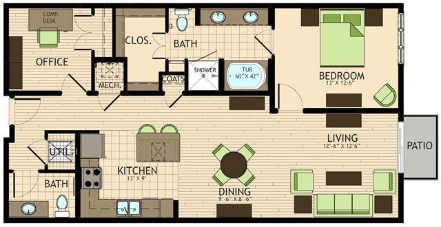 1,112 sq. ft. to 1,151 sq. ft. Da Vinci floor plan
