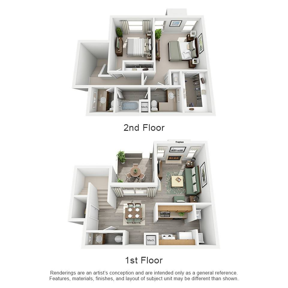 1,115 sq. ft. H - Pacifica floor plan