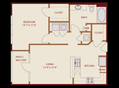 730 sq. ft. District floor plan