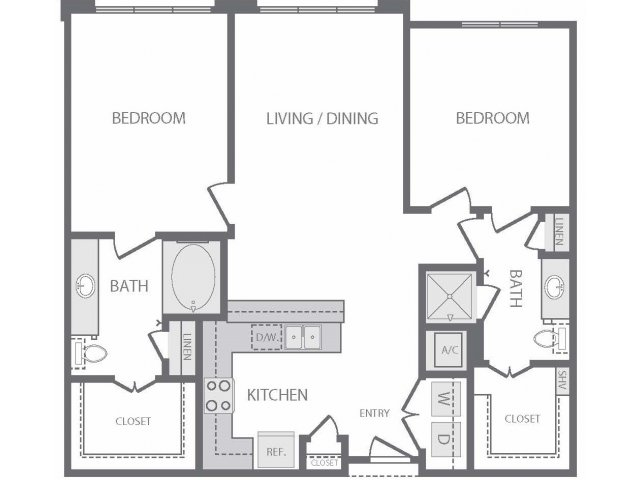 1,078 sq. ft. to 1,105 sq. ft. B3 floor plan
