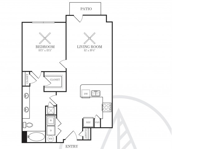 812 sq. ft. A4G floor plan