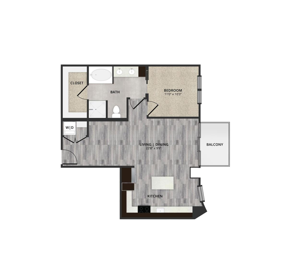856 sq. ft. C2 floor plan