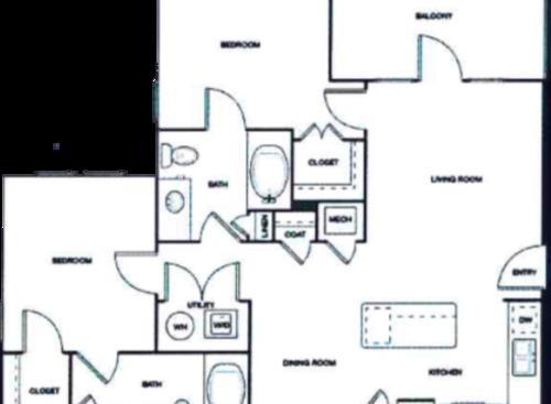 978 sq. ft. Mkt floor plan