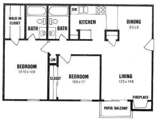 876 sq. ft. B-1 floor plan