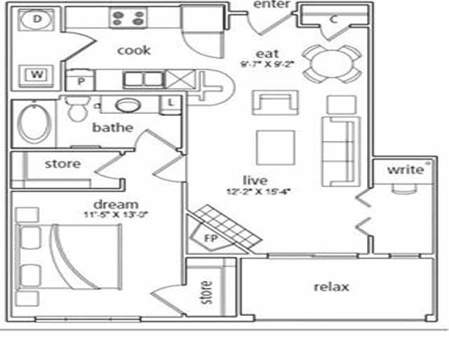 795 sq. ft. Florence floor plan