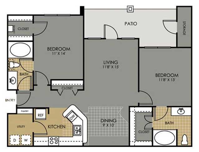 1,098 sq. ft. B4 floor plan
