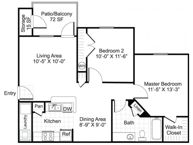 881 sq. ft. B1 floor plan