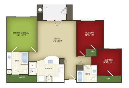 1,392 sq. ft. Extravaganza 60% floor plan