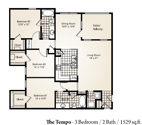 1,529 sq. ft. TEMPO floor plan
