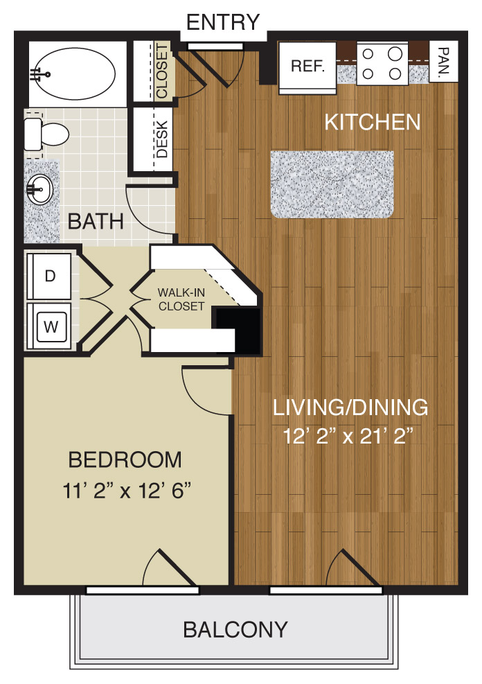 706 sq. ft. A2.1a floor plan
