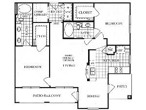 1,164 sq. ft. B1 floor plan