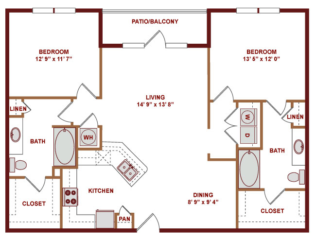 1,211 sq. ft. C600 floor plan