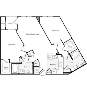 1,213 sq. ft. floor plan