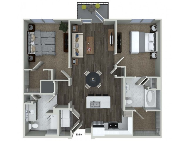 1,047 sq. ft. B1 floor plan