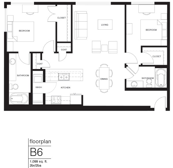 1,099 sq. ft. B6 floor plan