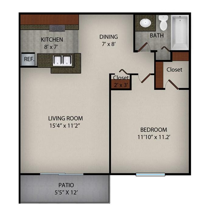 623 sq. ft. B floor plan