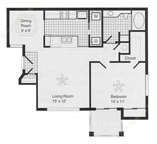 813 sq. ft. PH II A floor plan