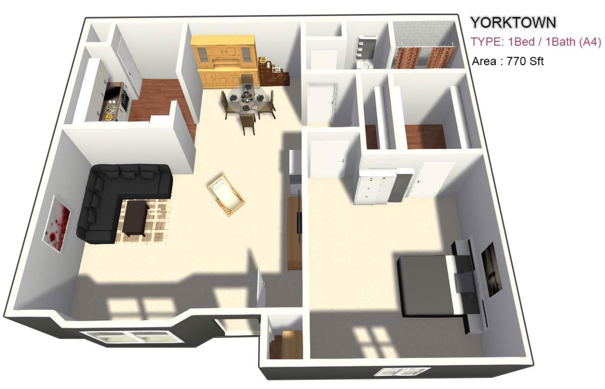 785 sq. ft. 1X1 floor plan